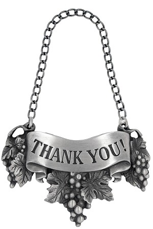 Thank you! Liquor Label with Chain